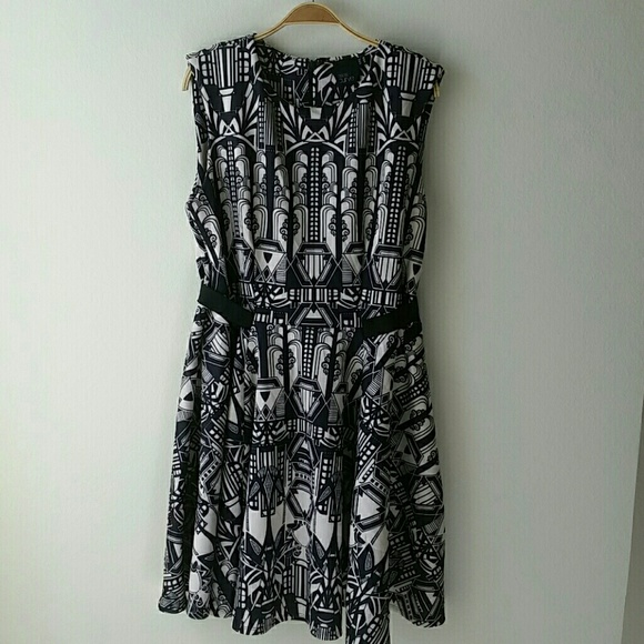 Asos Plus Size 16 black Art Deco Inspired Dress